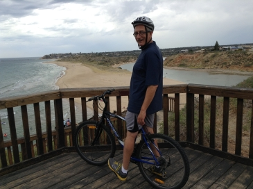 Anth liked getting out on his bike, here at Southport, overlooking the Onkaparinga River.
